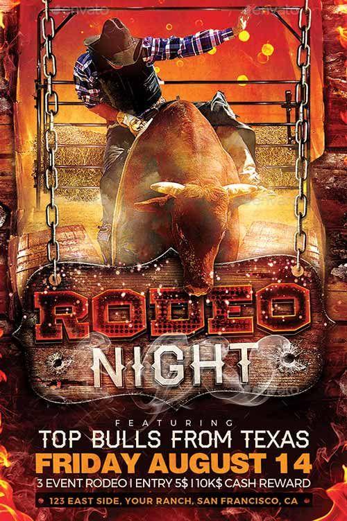Rodeo Night Flyer Template - http://ffflyer.com/rodeo-night-flyer ...