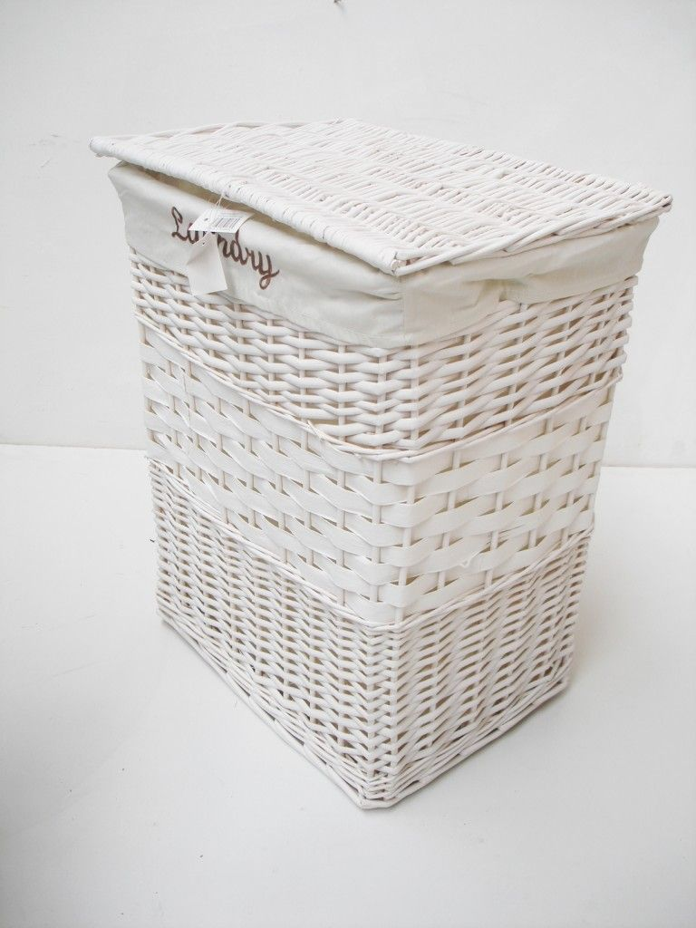 White Black Wicker Laundry Basket Hamper Bin Bedroom Bathroom