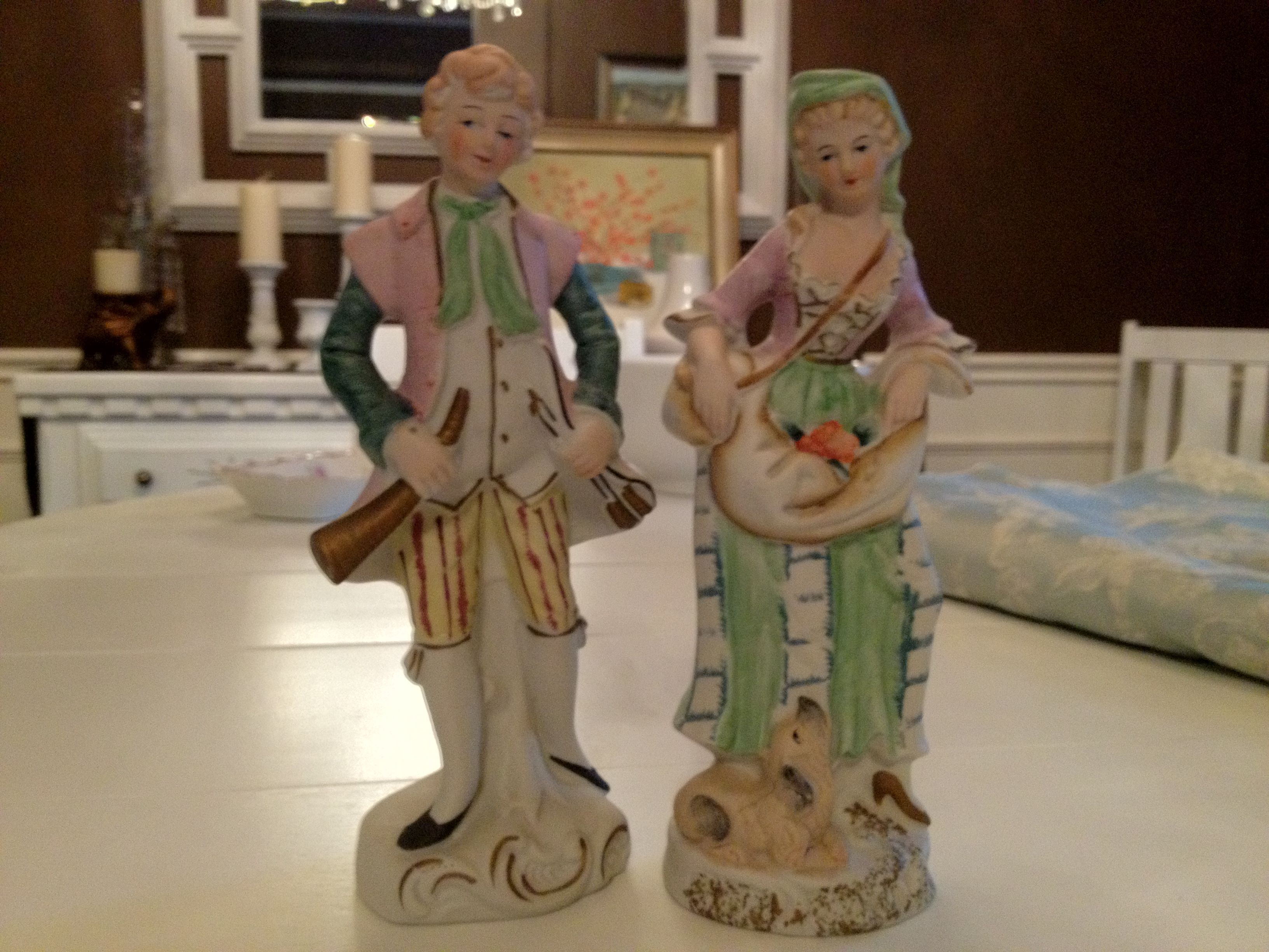 Another cute French couple found at estate sale.  I love the details in this pair.