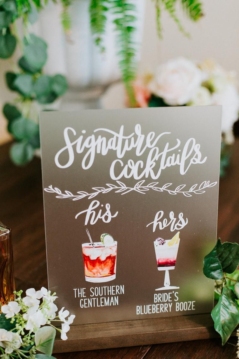 NEW* FROSTED Bar Menu Signature Cocktails Custom Acrylic