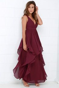 We can t help falling in love with the Water-Falling for You Burgundy Maxi  Dress! Lightweight Georgette fabric forms a lightly padded 33407a182
