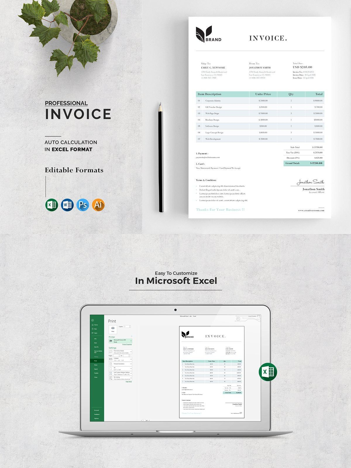 Invoice In 2020 Invoice Design Invoice Template Stationery Templates
