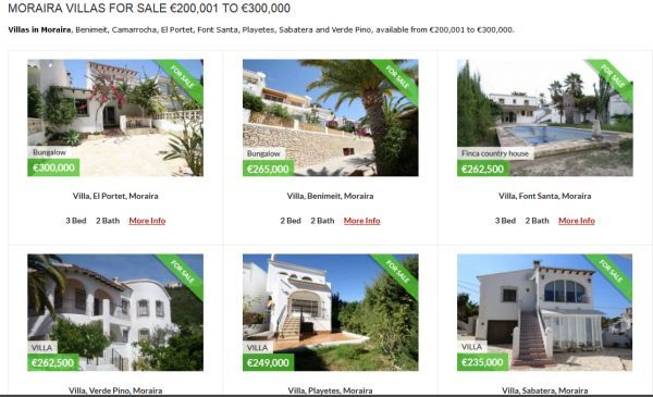 property in moraira for sale 200k to 300k