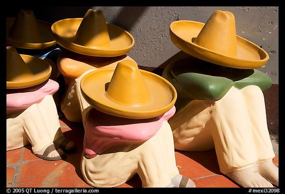 Ceramic Statues Of Men With Sombrero Hats Tlaquepaque Mexican Man Tlaquepaque Spanish Style Homes