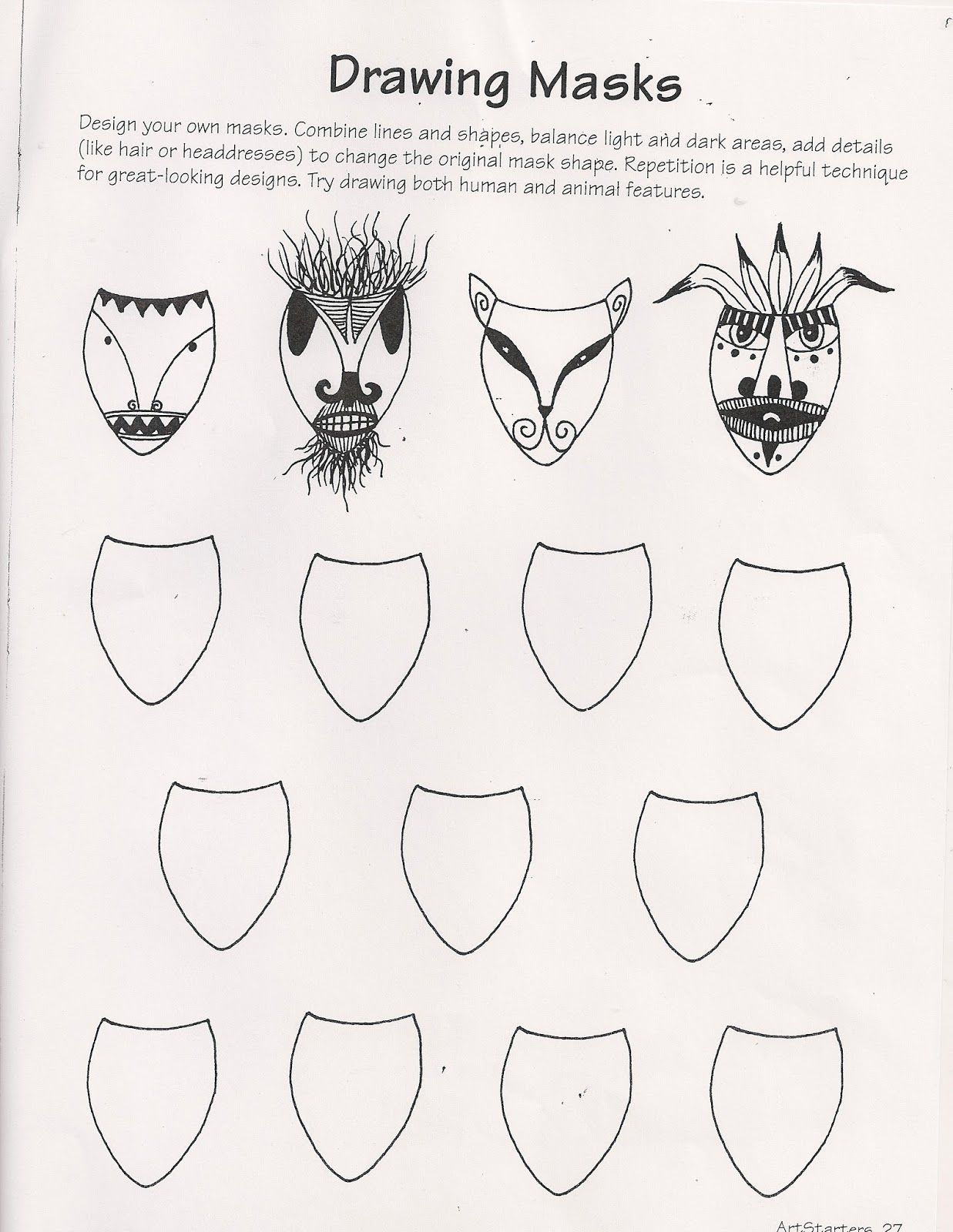 Ande Cook S Drawing Masks Worksheet And Art Education Substitute Lesson