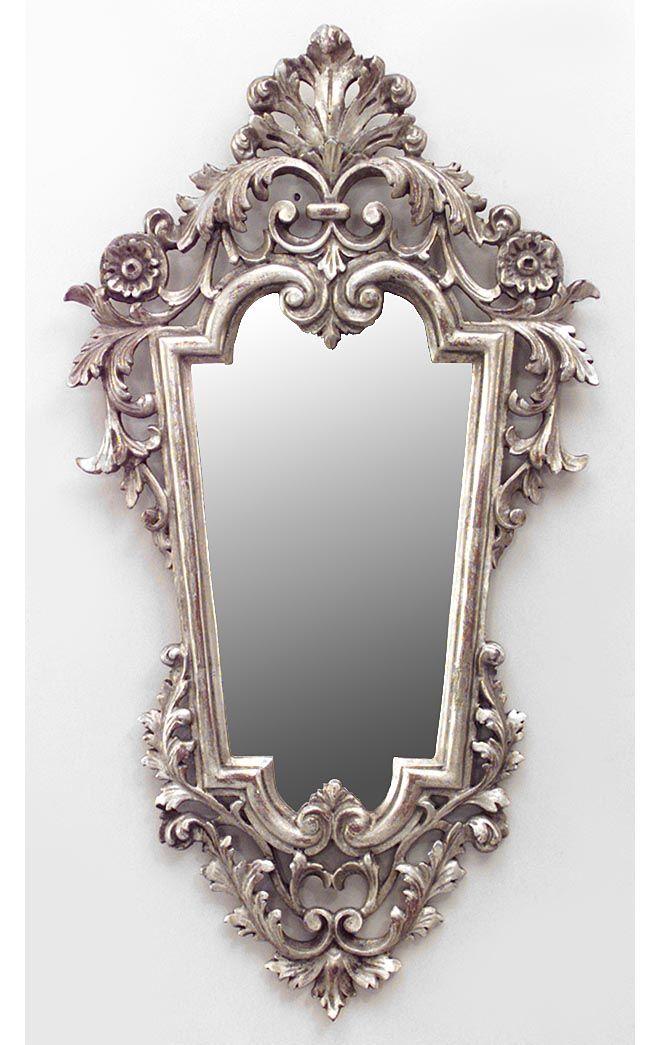 Rococ italiano espejo de pared de plata dorada marcos - Espejos marco plateado ...