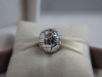 47f1733a0 New w/BOX,Tag & Grommet Pandora Silver Globe Charm Clip #791182 World