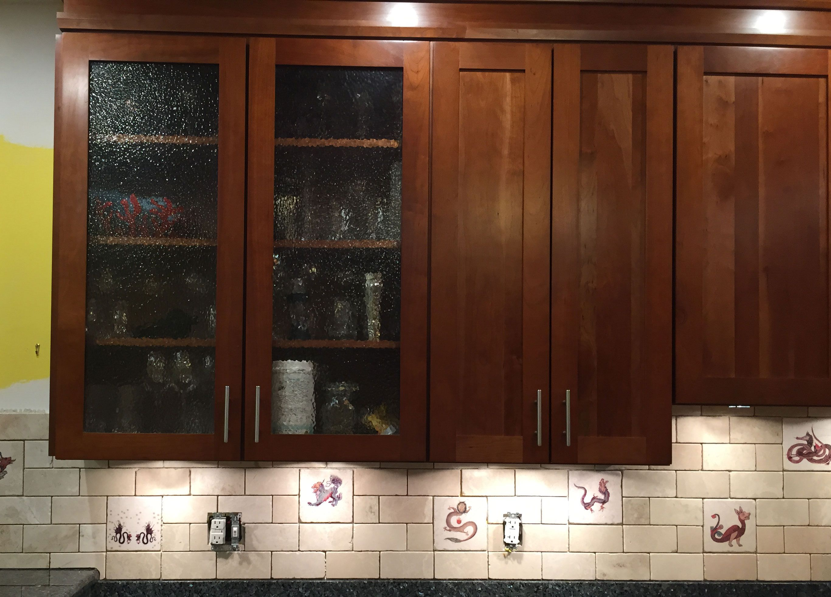 Tumbled Marble Dragon Kitchen Back Splash Before Grout William Morris Tile Installation Tiles