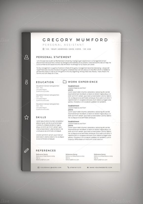Word Cv Templates 2007%0A Classified CV Resume  PSD WORD DOC  on  creativework