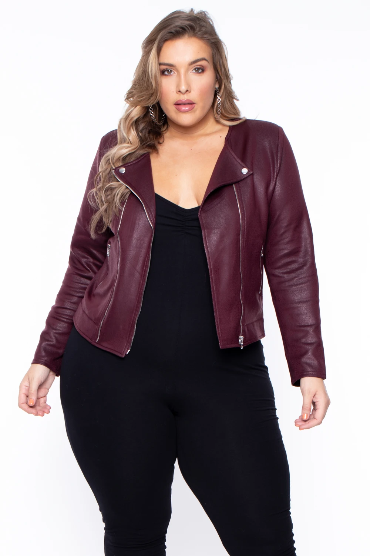 Plus Size Harper Faux Leather Moto Jacket Wine in 2020