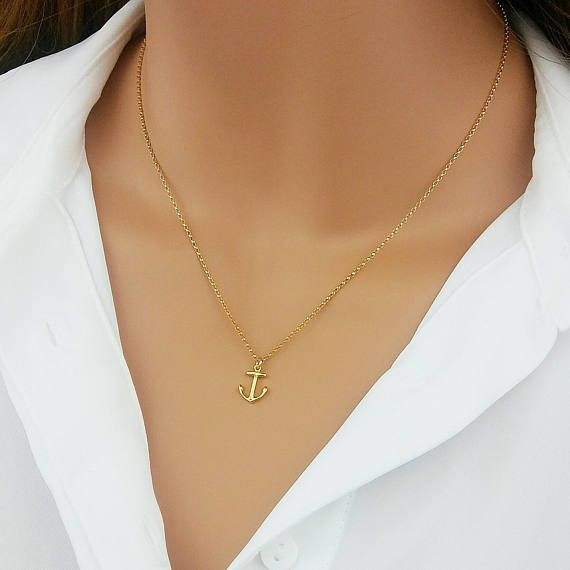 Anchor Necklace Sterling Silver Minimalist Jewelry Delicate