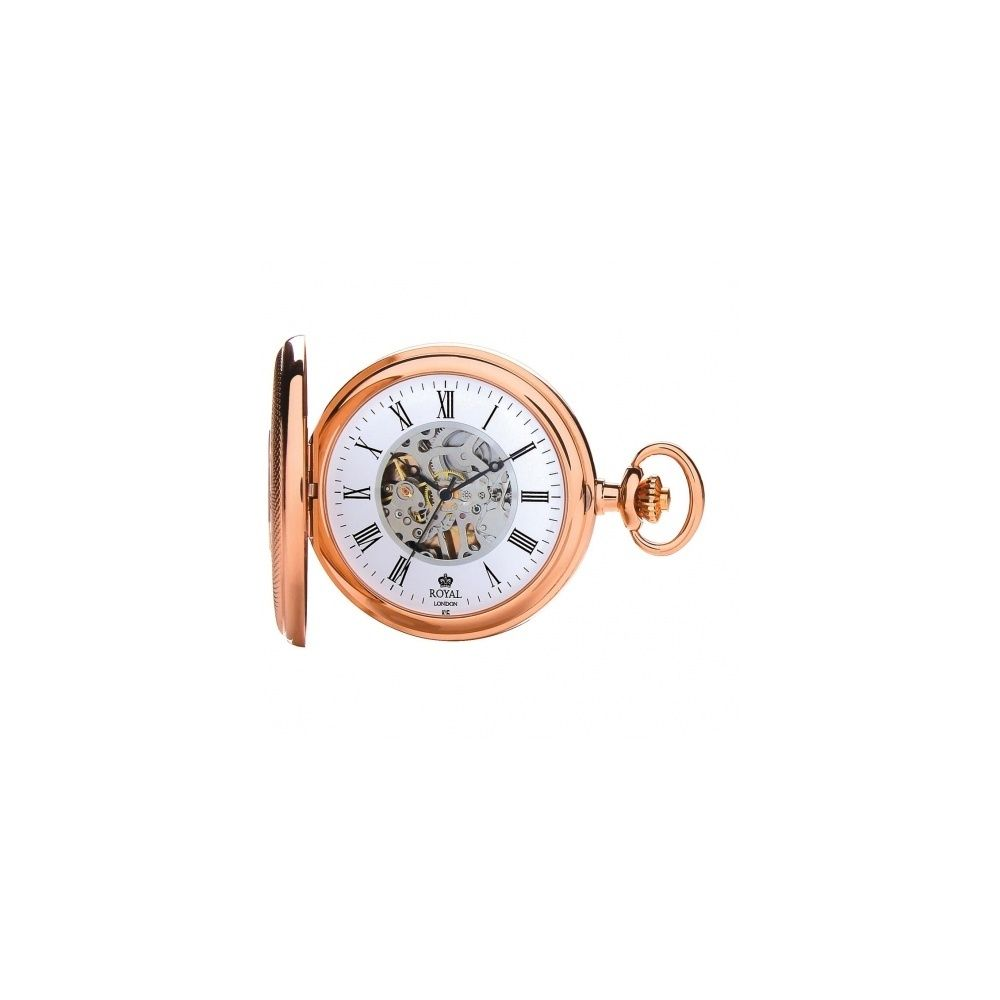 royal london rose gold half hunter mechanical pocket watch. Black Bedroom Furniture Sets. Home Design Ideas