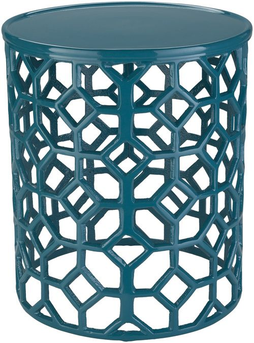 Hale Aluminum Lattice Accent Table In Teal Green With Images