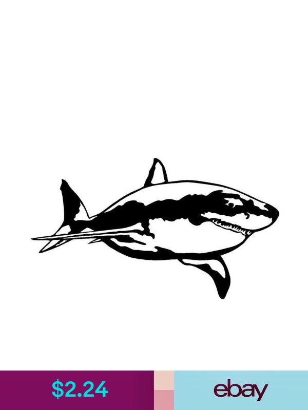 GREAT WHITE SHARK VINYL DECAL CAR WINDOW WALL LAPTOP BUMPER STICKER FISH JAWS