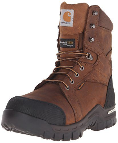 Carhartt Men S 8 Rugged Flex Insulated Waterproof Breathable Safety Toe Leather Work Boot Cmf8389 Brown 11 W Us Work Boots Work Boots Men Carhartt Boots