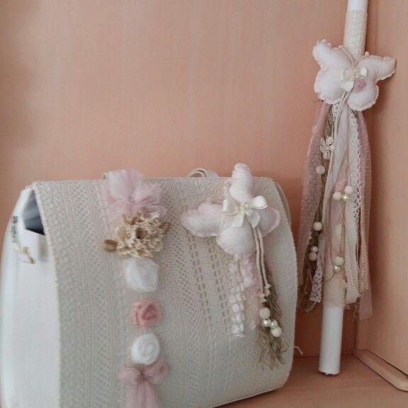 Σετ βάπτισης για κορίτσια με πεταλούδες και λουλούδια  d2af4b90d25