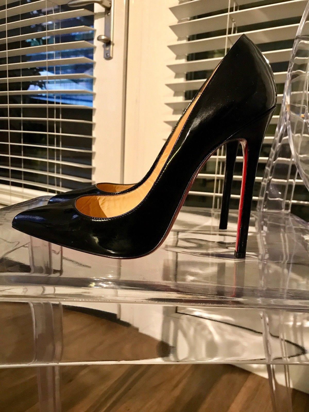 3fa2d20b676 100% Authentic Christian Louboutin Pigalle 120 black patent heels ...