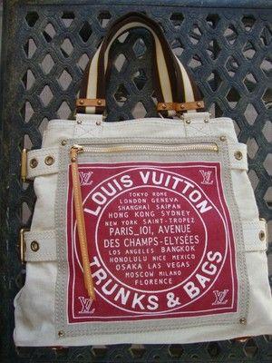 15a8b6b28b19 LOUIS VUITTON Globe Shopper CABAS RED TRUNKS DENIM tote bag LMTD.--I want  this bag!!!