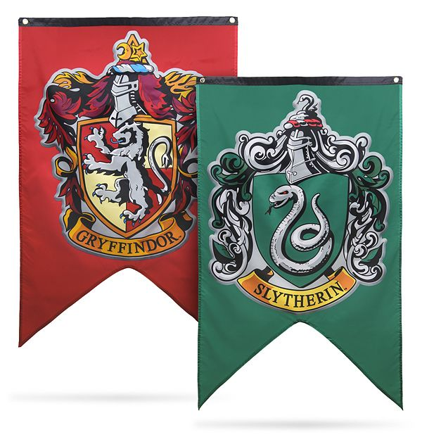 House banners representing Gryffindor, Hufflepuff, Ravenclaw, and Slytherin. There's also a Hogwarts one featuring the crest and motto,…