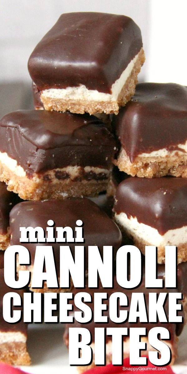 MINI CANNOLI CHEESECAKE BITES (@SnappyGourmet.com)