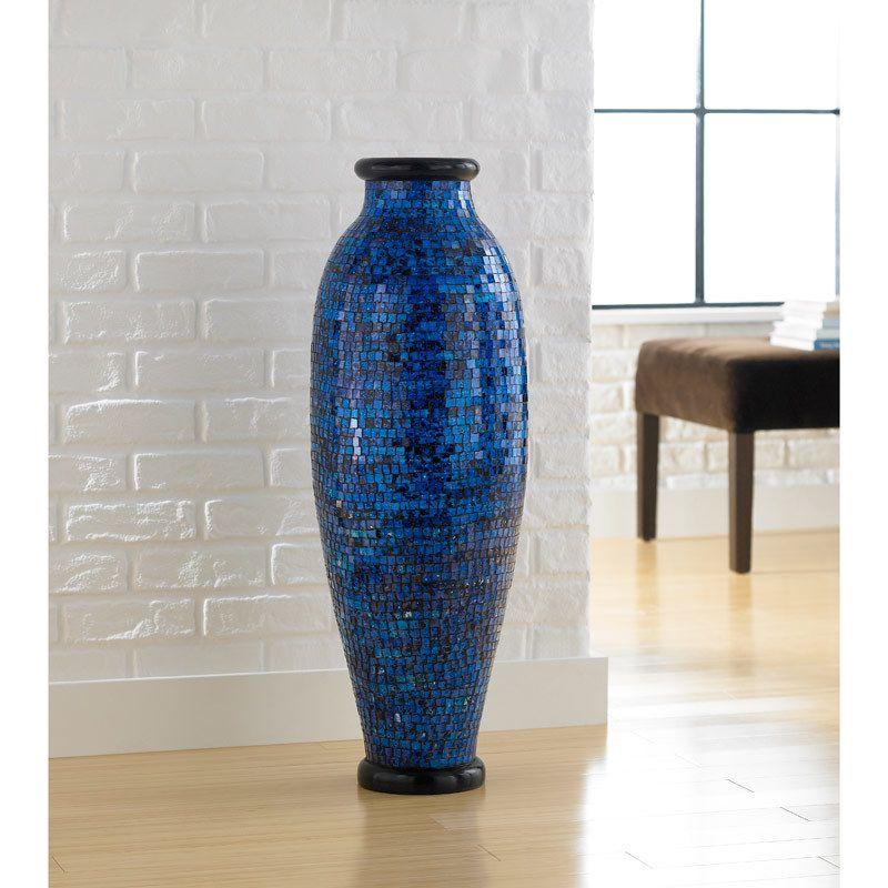 Ocean Blue Mosaic Floor Vase