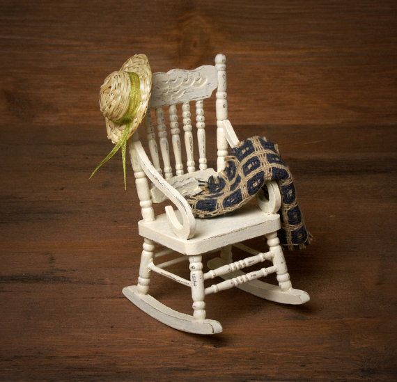 Shabby Chic Miniature Wooden Rocking Chair For Your By DinkyWorld