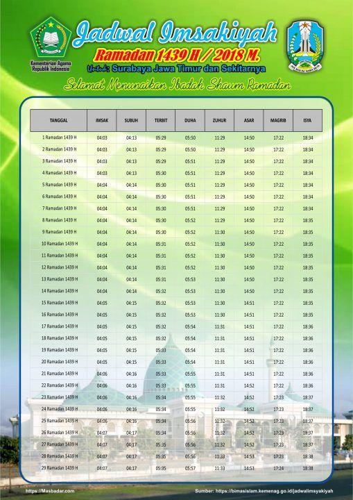 Jadwal Imsyakiyah Puasa Ramadan 1439h 2018m Kemenag ...