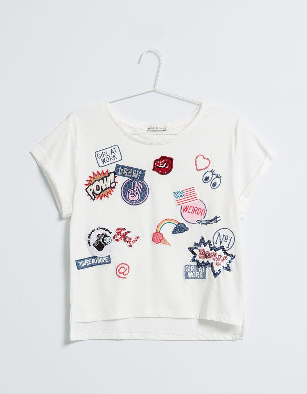 bsk t shirt patch t shirts bershka colombia fashion. Black Bedroom Furniture Sets. Home Design Ideas