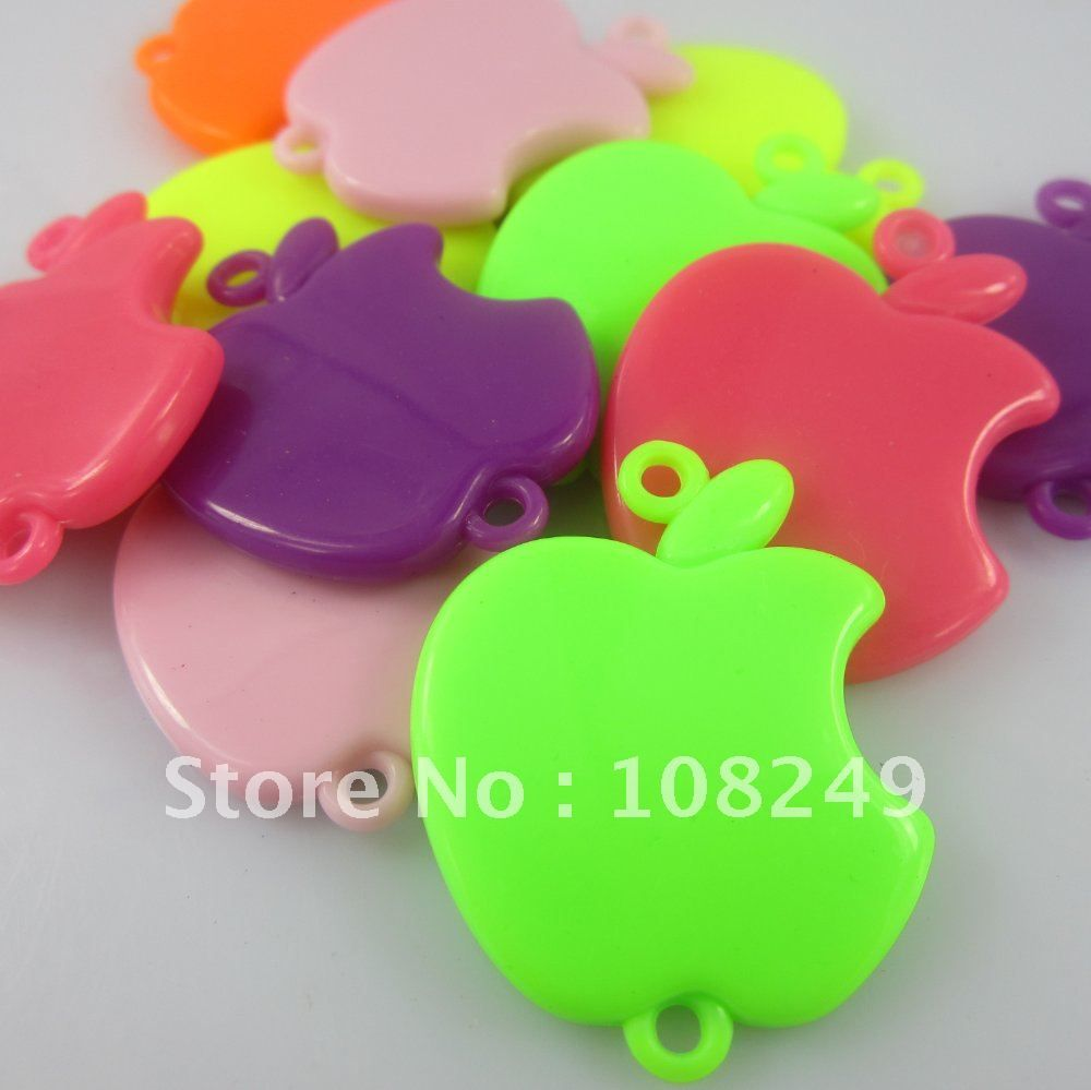 Newest 36*34mm Acrylic Apple beads, Colorful Solid Apple Connector  pendant for DIY jewelry making, 92pcs a lot,free ship! $15.57