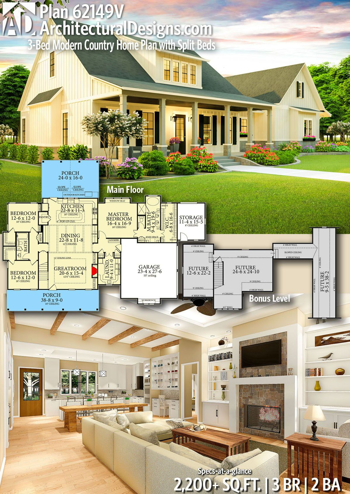 Plan 62149v 3 Bed Modern Country Home Plan With Split Beds