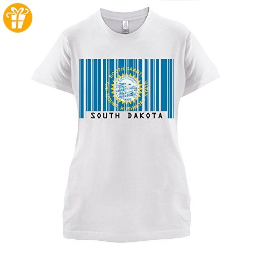 South Dakota / Süd-Dakota Barcode Flagge - Damen T-Shirt - Weiß - L (*Partner-Link)
