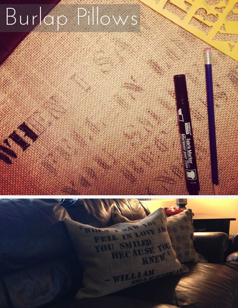 do it yourself: burlap pillows