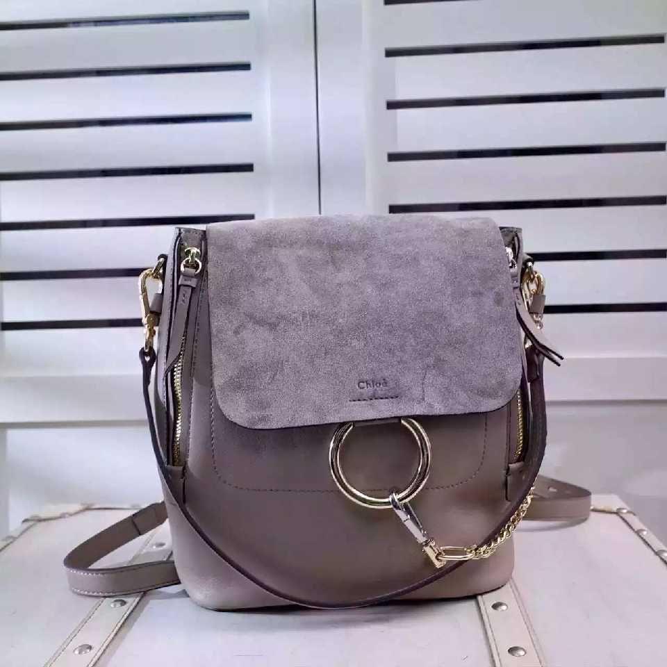 39ba17fbe Authentic Quality 1:1 Mirror Replica Chloe Medium Faye Backpack Motty Grey  Suede 3S1192-HEU-B79