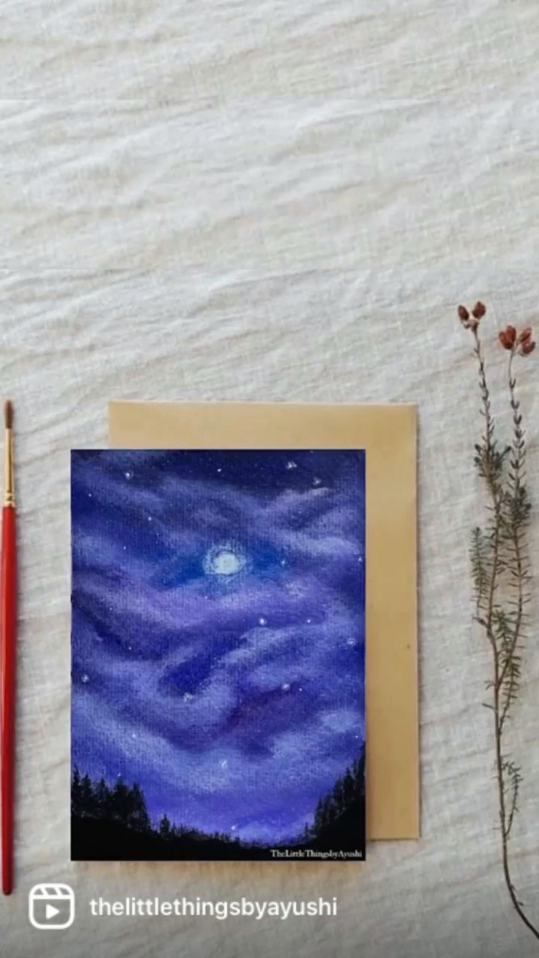 Moonlight Sky Acrylic Painting