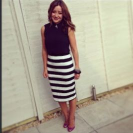 F striped skirt and blouse...