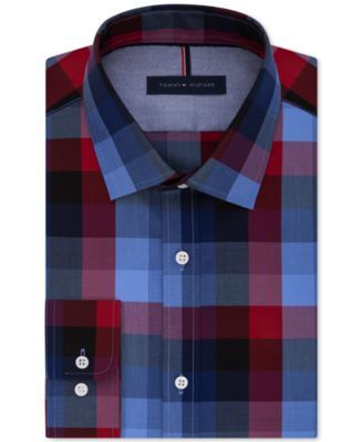 TOMMY HILFIGER Tommy Hilfiger Men's Slim Fit Blue Check Dress Shirt. #tommyhilfiger #cloth # dress shirts