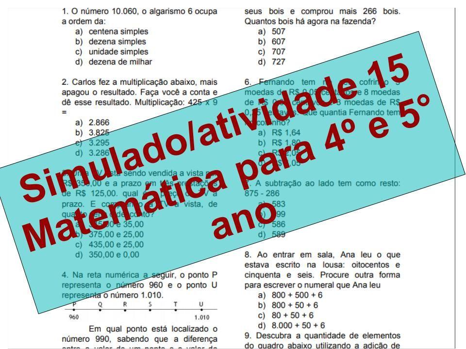 Pin Em Simulado Atividade O 4º E 5º Ano De Matematica