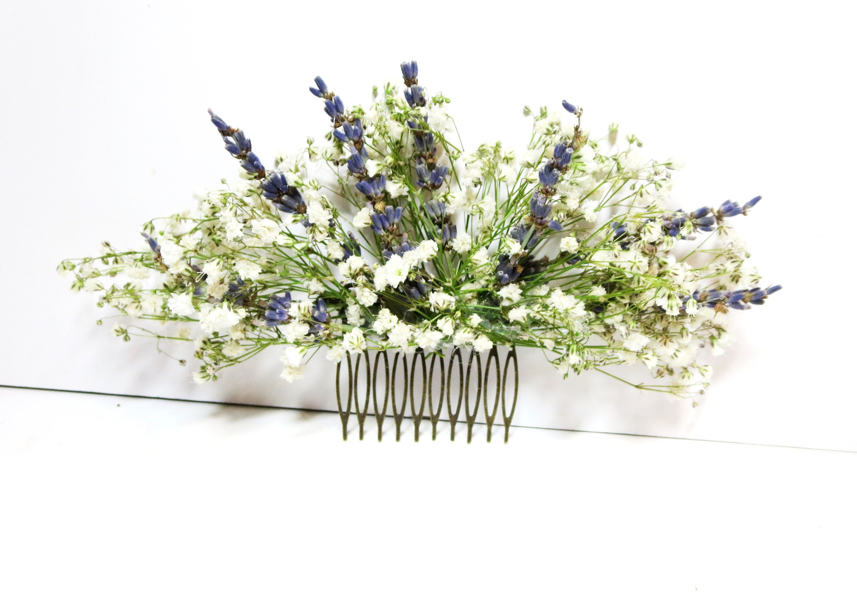 Dried flower comb Baby's breath Lavender hair comb   Etsy   Flower ...