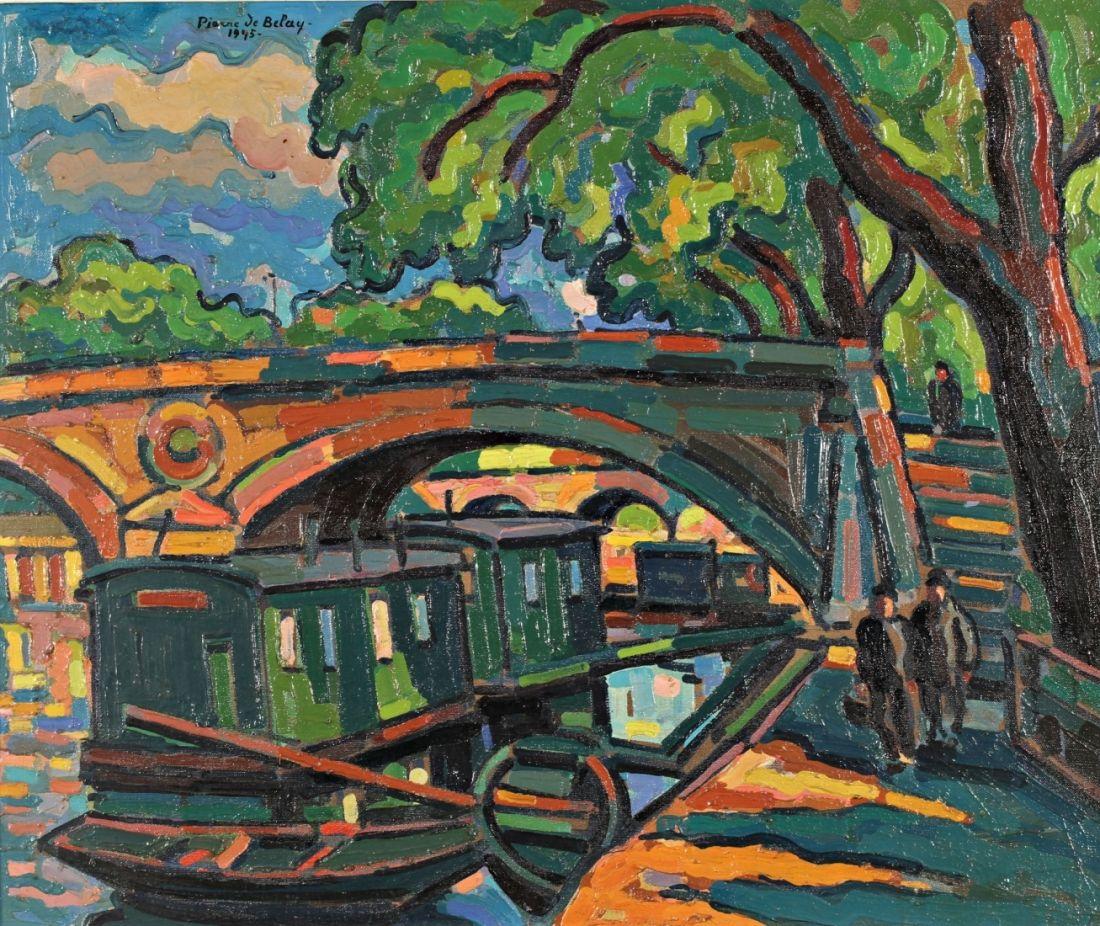 Pierre De Belay 1890 1947 Le Pont Marie Huile Sur Toile D