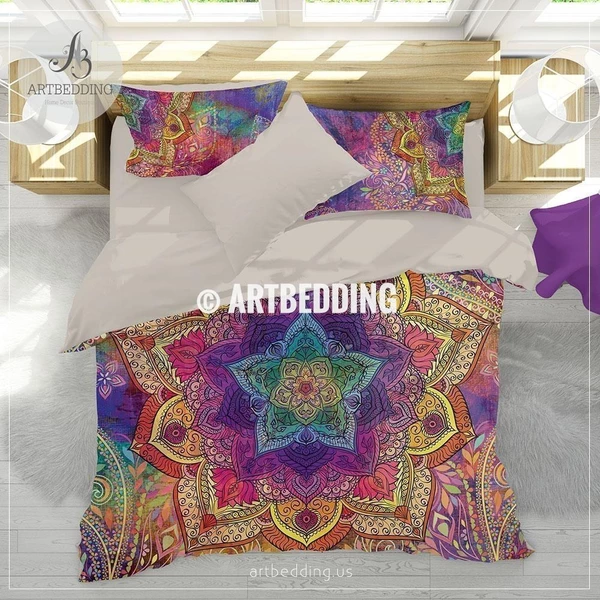Boho bedding, Rainbow Mandala bedding, Rainbow chakra colors paisley mandala comforter set, bohemian bedroom decor