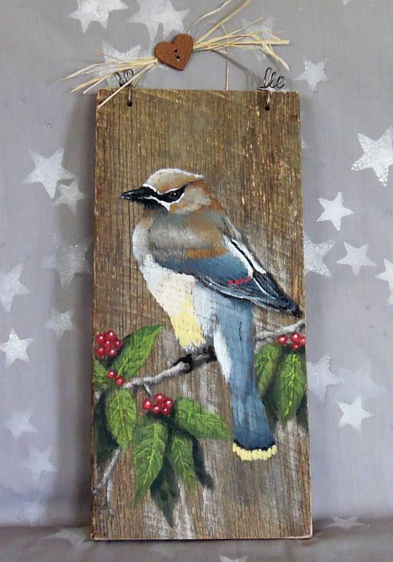 Cedar Waxwing Songbird Authentic Barnwood Rustic Hand Kolibri