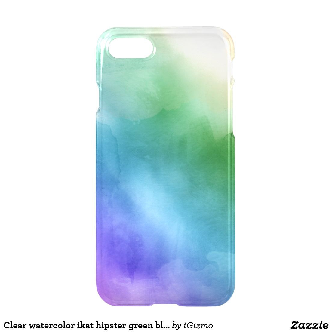 Clear Watercolor Ikat Hipster Green Blue Rainbow Watercolor