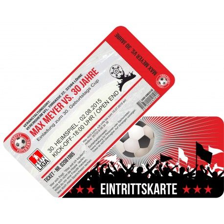 100einfu004 Einladung Als Fussballticket Einladungskarte