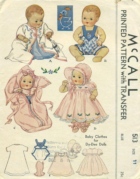 "Vtg Baby Doll Pattern Dress Romper Doll ~ 15/"" Dy Dee Betsy Wetsy Tiny Tears"