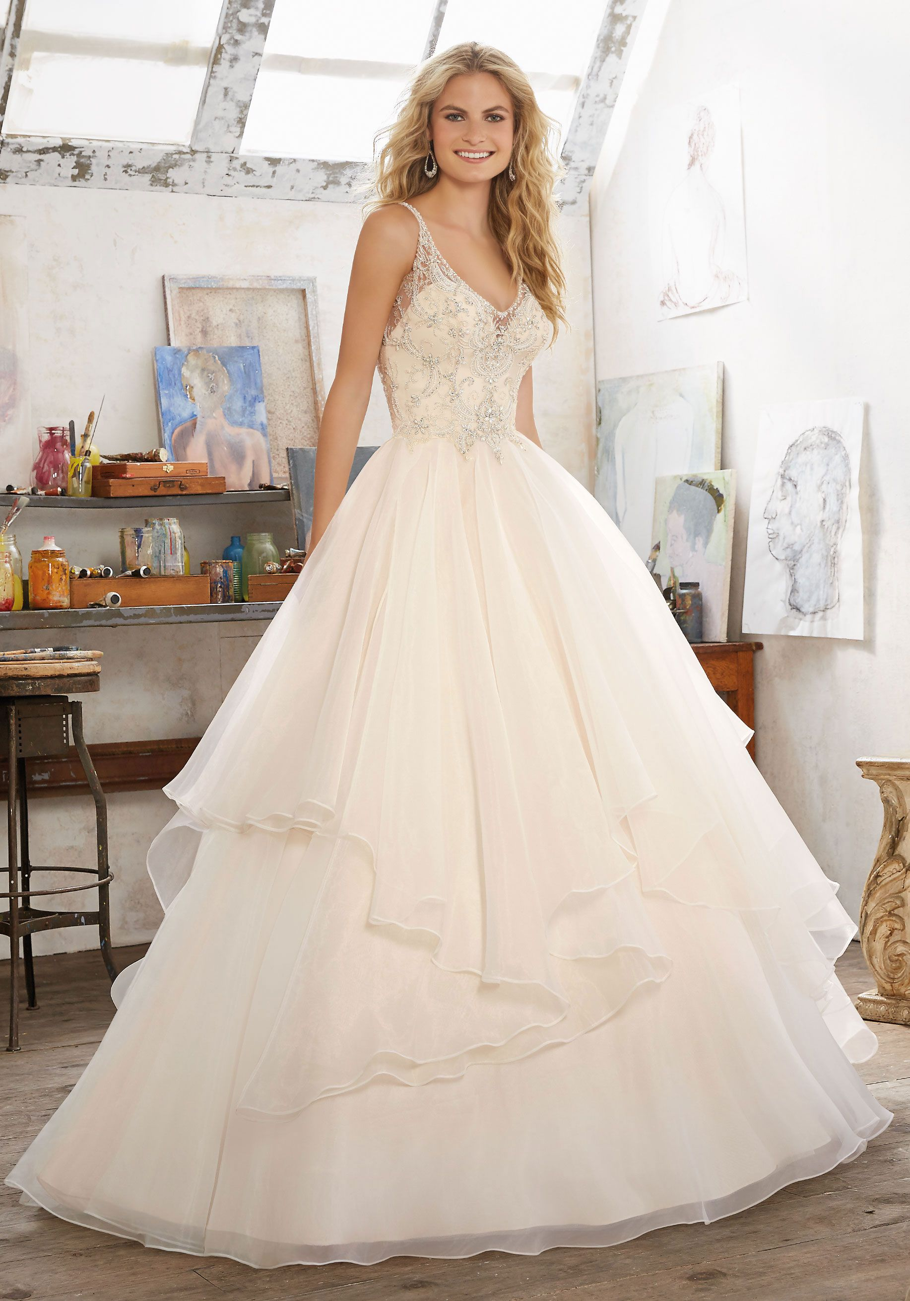 Fancy Morilee by Madeline Gardner uMadison u Romantic Bridal Ballgown Features Crystal Beaded Embroidery