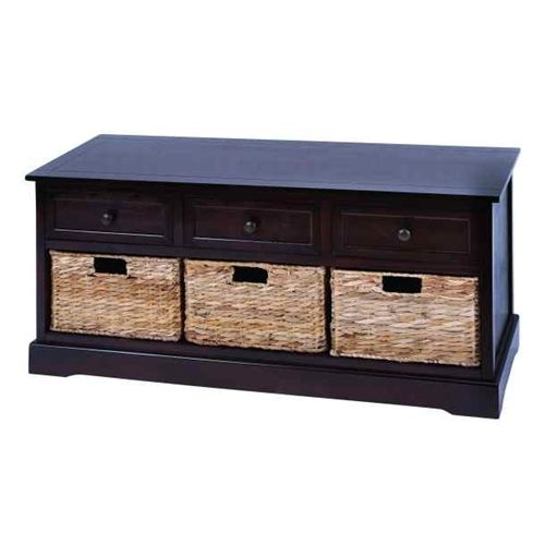Bench Cabinet with Wicker Basket Drawers in Espresso | This cabinet is made with solid dark wood pieces treated for a soft to the touch feel. Included are 3 baskets that slide in and out side by side. And with such a beautiful look, you can enjoy this cabinet virtually anywhere and everywhere. Use it perfectly in the master bedroom or the spare guest room.