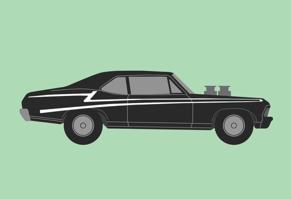 Green Car Print Muscle Car Silhouette Poster By Icandyproducts