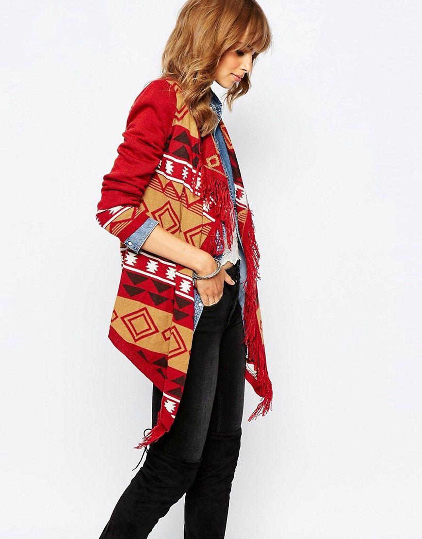 Fede Vero Moda Aztec Cardigan With Fringing - Rosewood Vero Moda Strikketøj til Damer i behageligt materiale