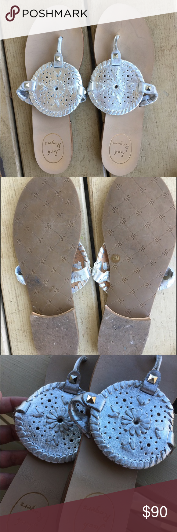 Jack Rogers Silver Georgica Sandals Great condition! Cheaper 🅿️🅿️ can include box..size 8.5 Jack Rogers Shoes Sandals