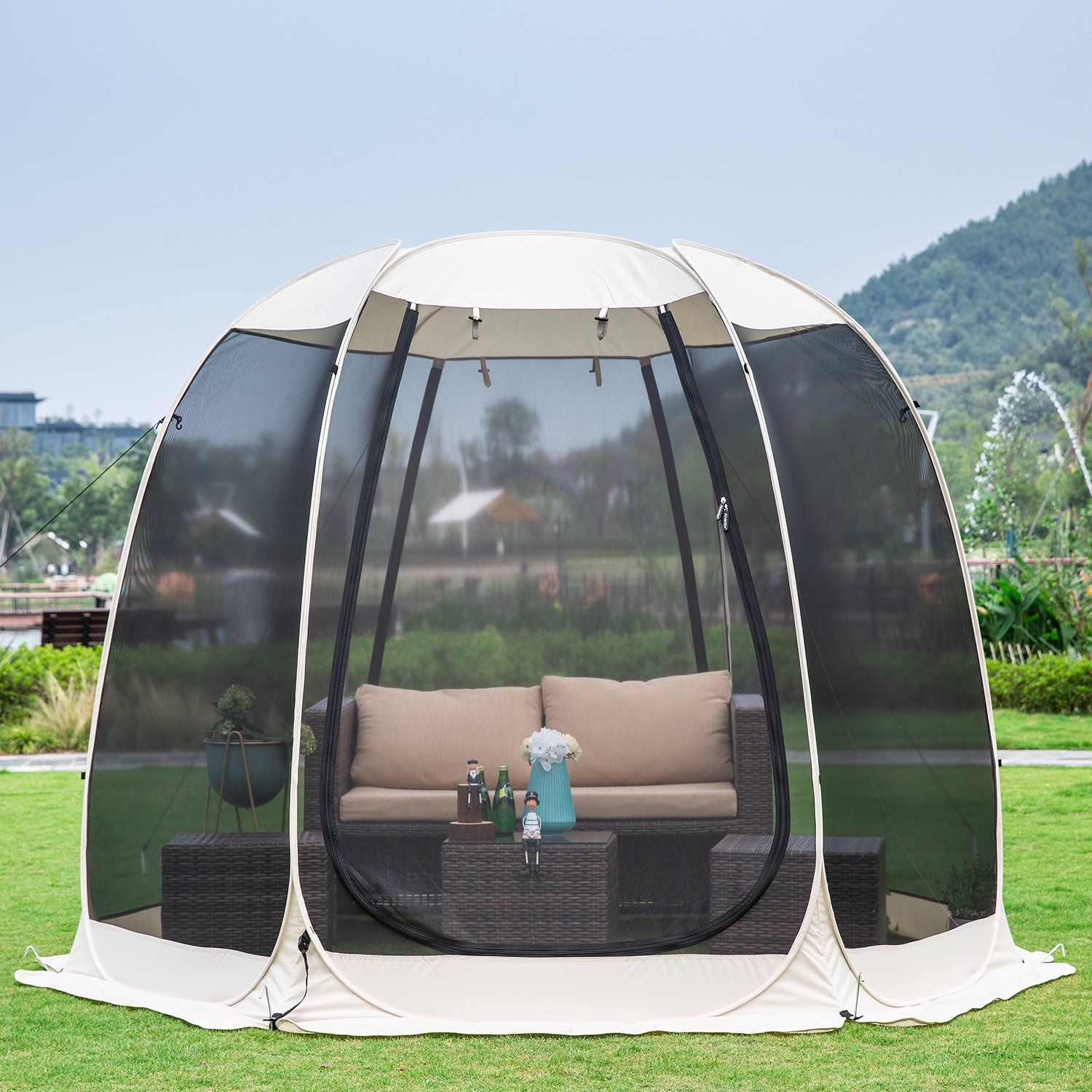 Screen House Room Camping 10x10 Blue Instant Canopy Walmart Com In 2020 Screen House Instant Canopy Screened Gazebo